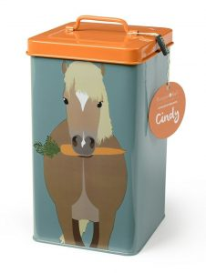 Pet treat tin for a pony or horse owner