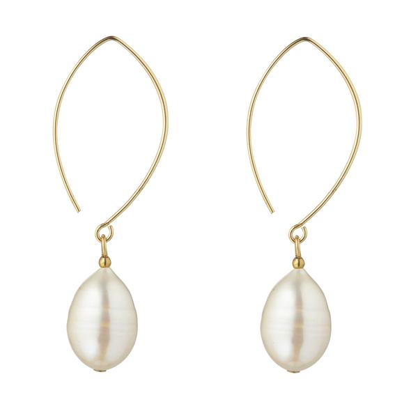 Pearl Pear Oval Open Earring