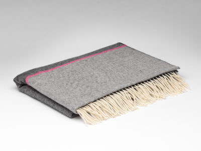 charcoal and pink stripe pashmina