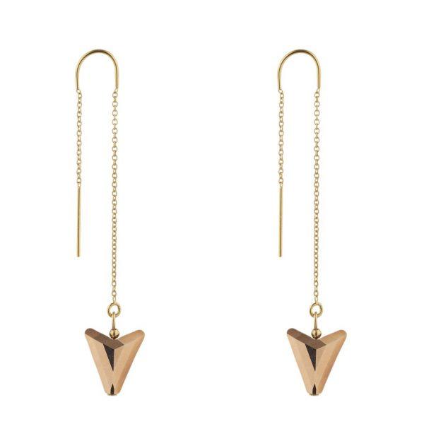 Gold Filled Threader Swarovski Rose Arrow Earrings