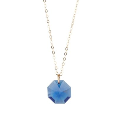 swarovski blue pendant on gold filled chain