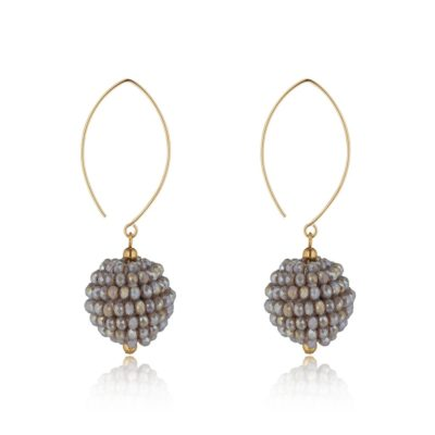 Oval open cluster earrings