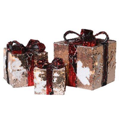 lit sequin giftbox christmas decoration