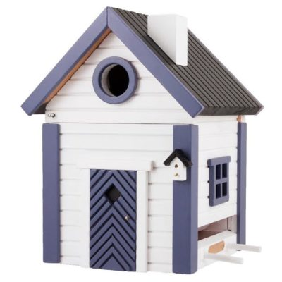 White and blue feeder and nesting box