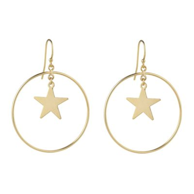 momuse star hoop gold filled earrings