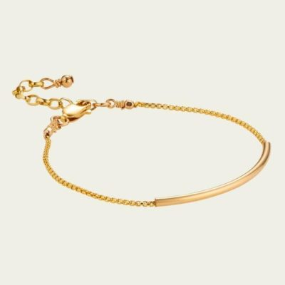 Scribble and stone crescent bracelet gold fill