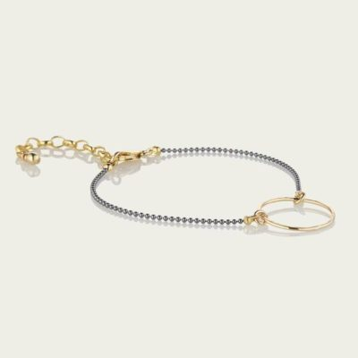 two tone textured ring bracelet scribble and stone
