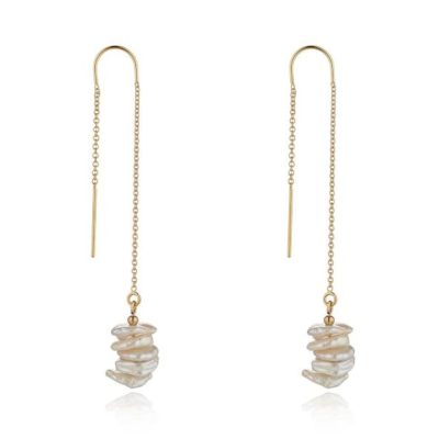 14kt gold filled saucer pearl threader momuse earrings
