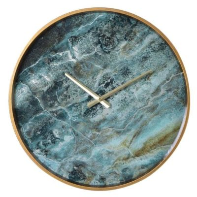 Marble effect wall clock teal